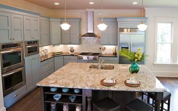 Beautiful Blue Painted Kitchen Cabinets